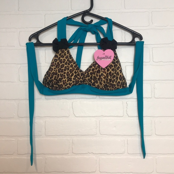 sugardoll Other - NWT SugarDoll bikini top leopard turquoise Sz L